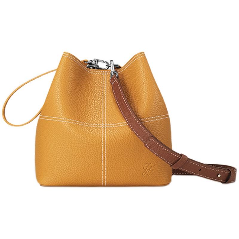 FIND KAPOOR梵德卡普尔新款时尚单肩斜挎女包FKR线条姜黄水桶包