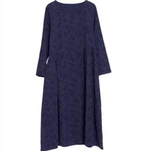 2021新款秋装复古宽松亚麻连衣裙