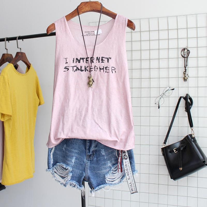 2018夏装新款女装洗水做旧百搭背心字母印花纯薄棉弹力工字吊带衫