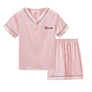 夏季冰丝两件套仿真丝短袖套装睡衣