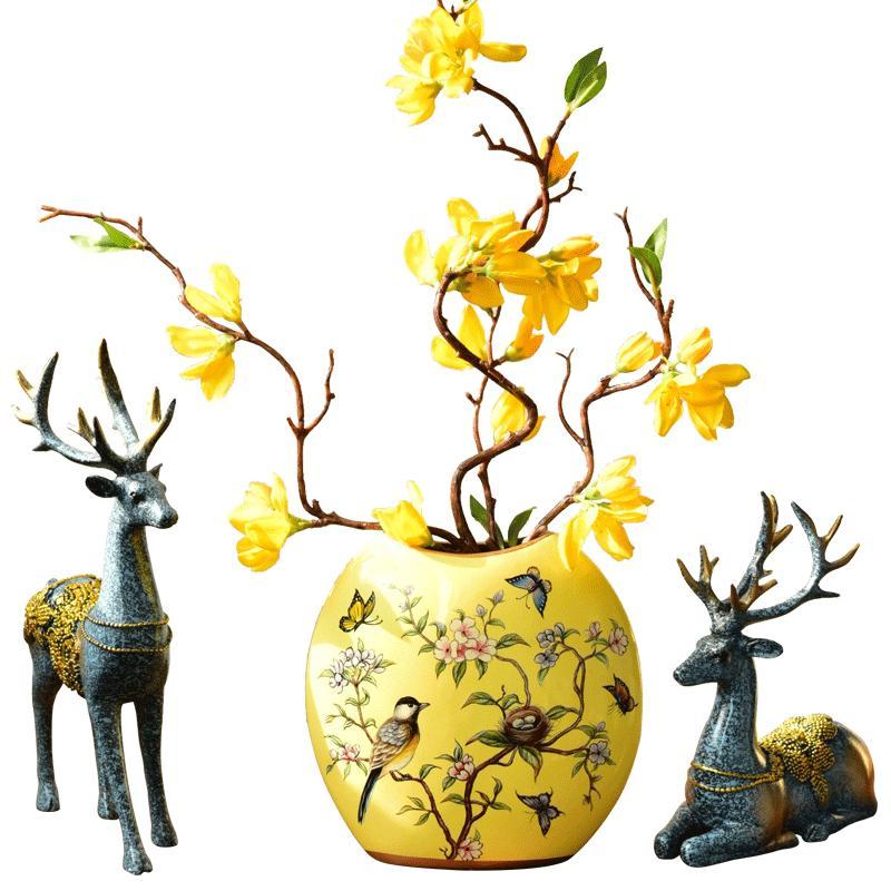 美式乡村创意陶瓷花瓶欧式仿真花艺套装客厅装饰插花结婚礼物摆件