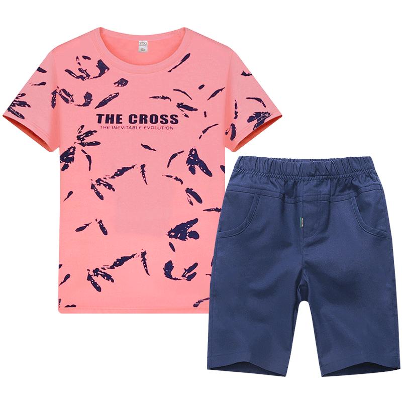 童装男童夏季套装中大童宝宝夏装短袖2019新款男孩T恤儿童运动夏