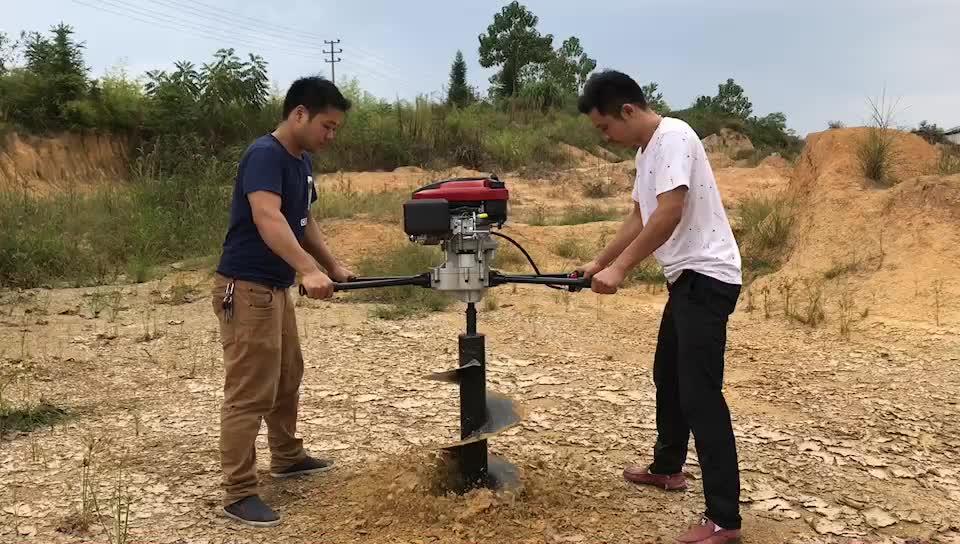 196cc earth auger with 500mm drill and 6.5hp hole digging tool and ground hole drill and two people post hole digger