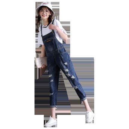 破洞牛仔九分夏2018新款韩版背带裤