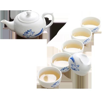 澜扬陶瓷茶具套装整套玉瓷手绘荷花