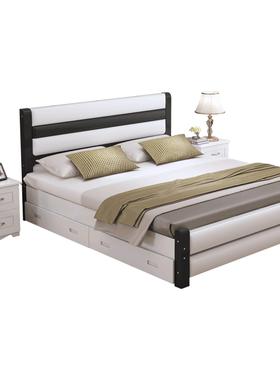 实木床现代简约1.8米双人床出租房1.5m简易床架经济型1.2m单人床