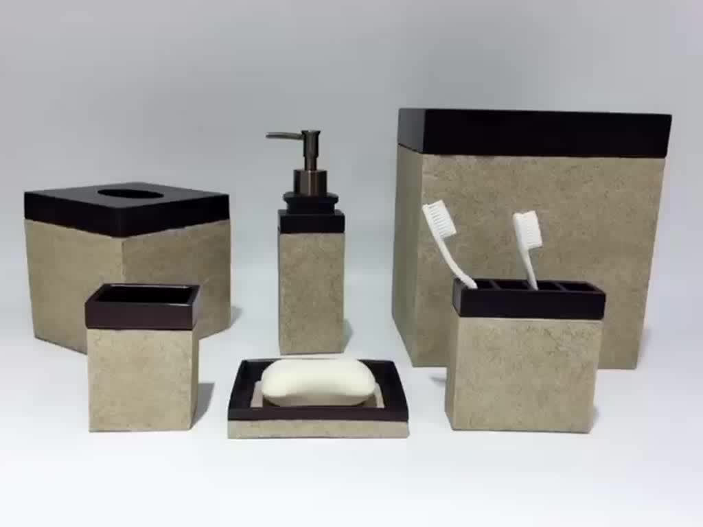 China Eco-friendly Modern Hotel Sand Resin Bathroom Accessories