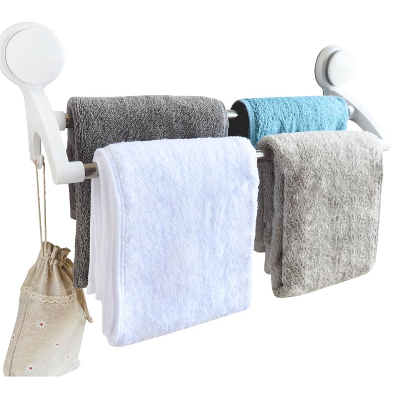 毛巾架免打孔卫生间不锈钢毛巾杆洗手间吸盘式壁挂置物架浴室挂架