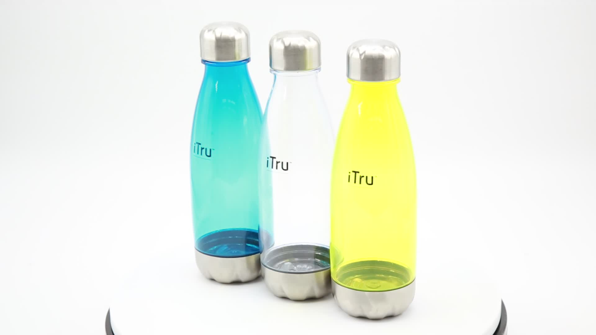 T3 hot sales china drinking BPA Free Promotion gift juice Plastic Tritan sport cola shaped water bottle with crest lid