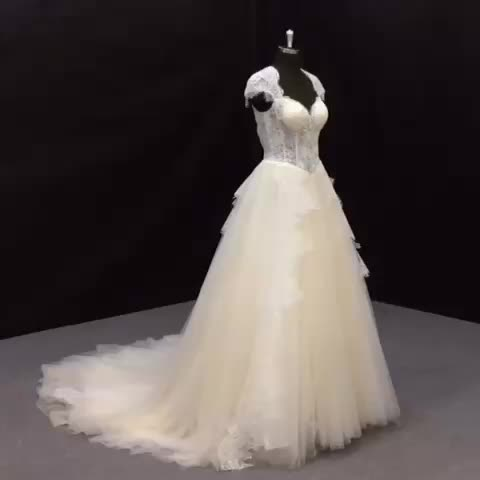 St-5255 Champagne Ivory Bridal Gown Cross Ribbon & Bow Open Back ...