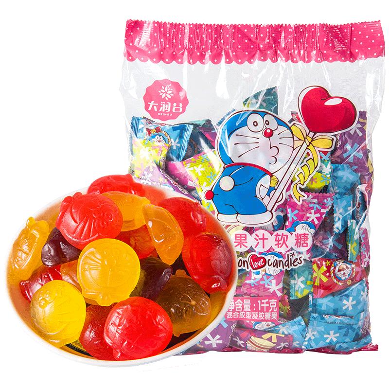 大润谷哆啦A梦糖果网红小吃果汁软糖水果糖橡皮糖喜糖布丁零食