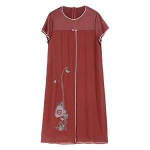 杭州真丝连衣裙中长款桑蚕丝裙子