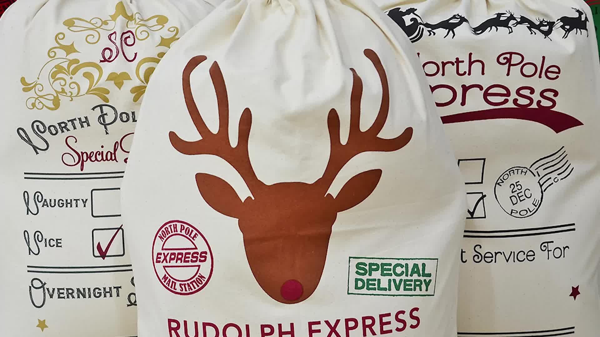 बड़े आकार के लिए उपयुक्त क्रिसमस कपास बैग