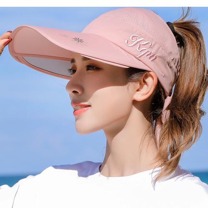 子女夏天防紫外线空顶骑车凉遮阳帽