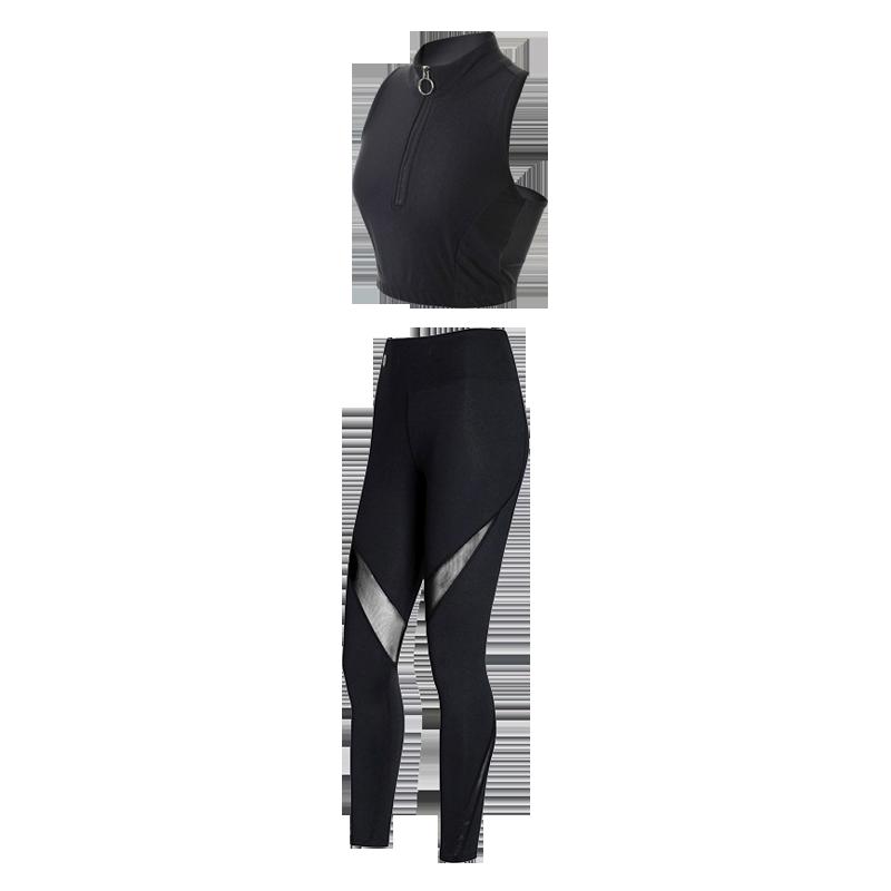 2019春夏新款健身房瑜伽服套装女长袖专业运动性感健身服三件套女
