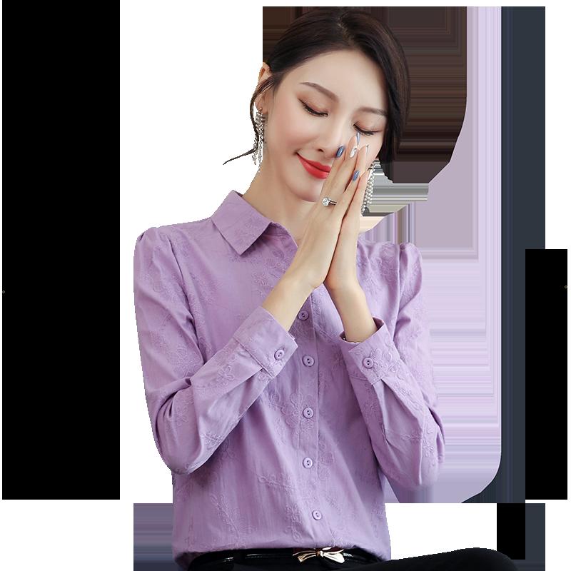 纯棉女士衬衫2019新款女装上衣长袖秋冬款百搭加绒衬衣设计感小众