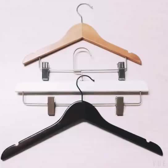 Hot sell custom antique style durable black metal hook wooden cloth suit hanger