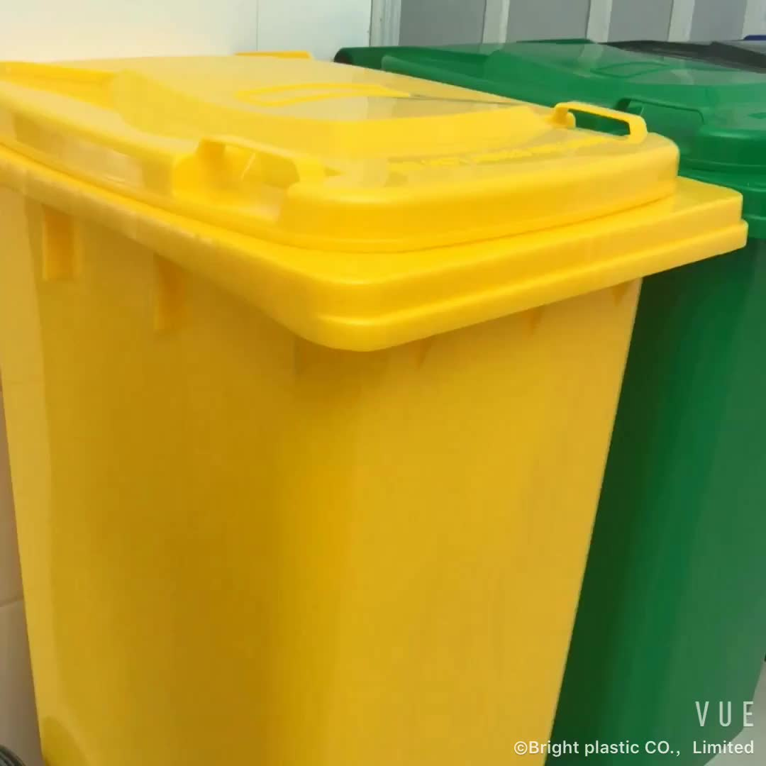 Fancy large 240L 2 wheels 65 gallon outdoor square industrial foot operated types plastic dustbin