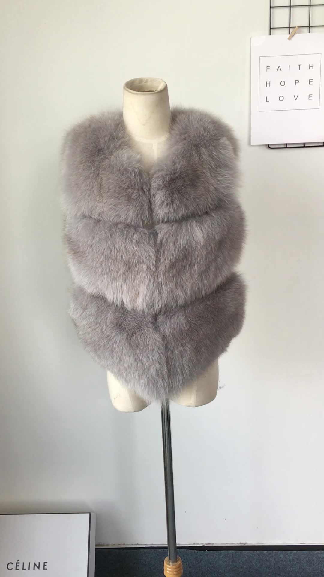 Insta Fashion Women Real Fox Fur Gilet Waistcoat Genuine Fox Fur Vest