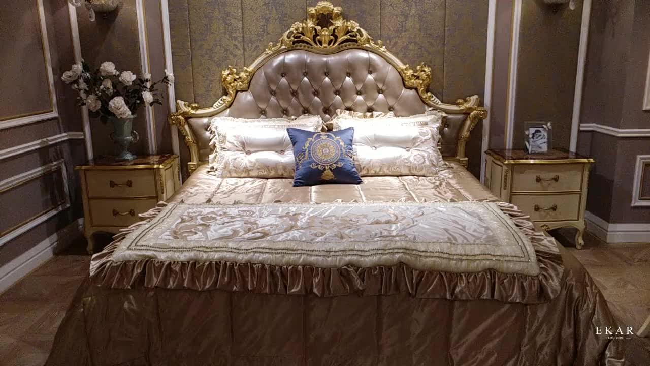 King set royal bedroom luxury leather headboard french bed for Royal headboard