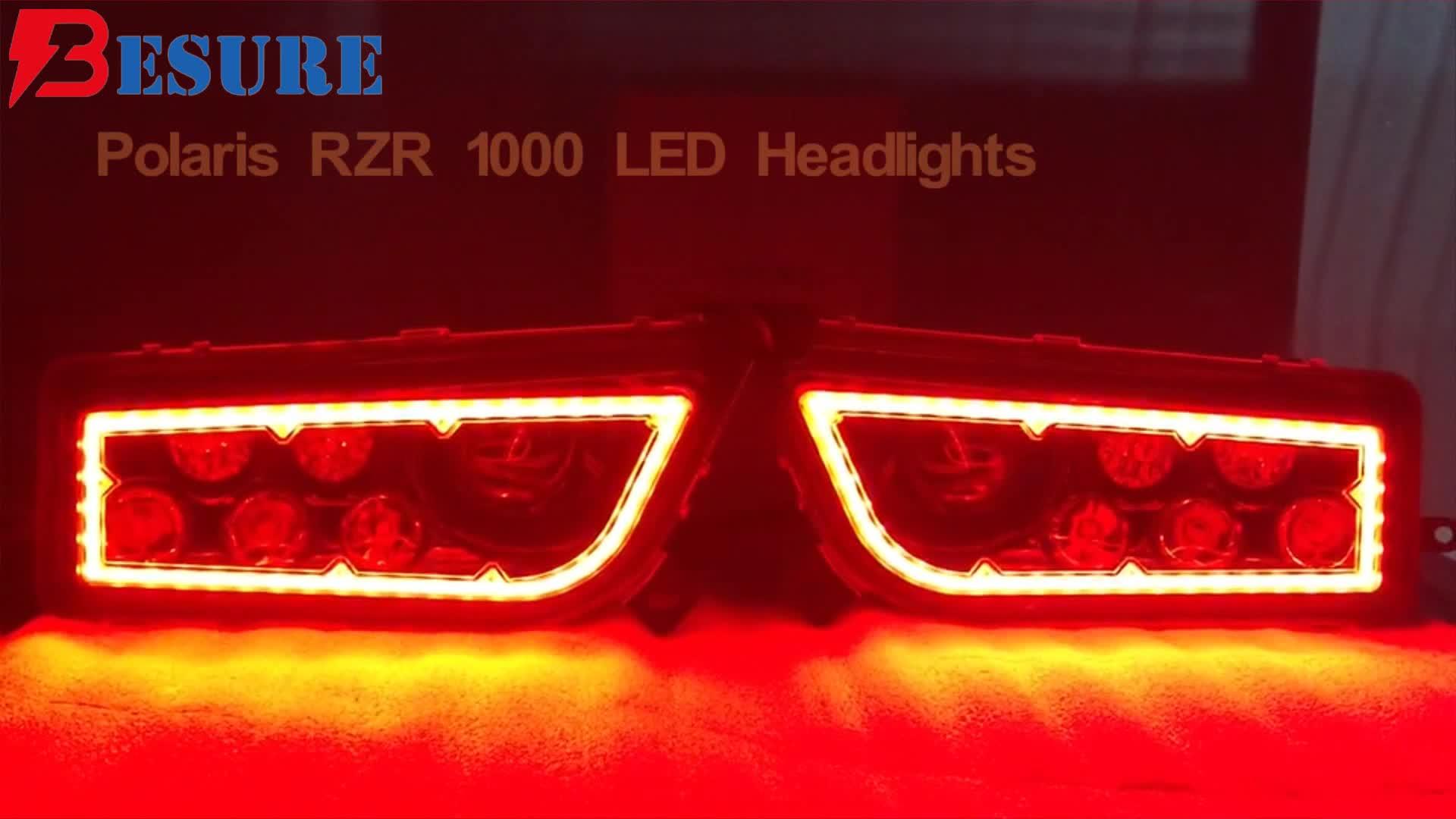 7 Bezel Colors New LED Headlights Conversion Kit 2pcs ATV UTV Offroad LED Lamps With/Without Halo For Polaris RZR XP 1000