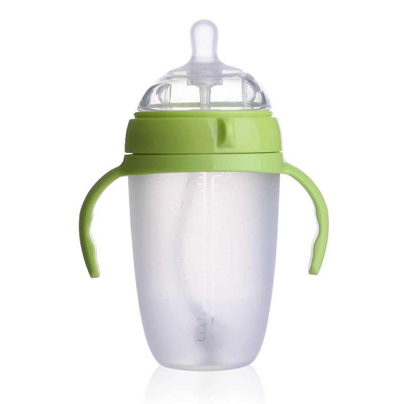 新生婴儿硅胶奶瓶ppsu全软宝宝仿母乳宽口径超软防耐摔带吸管初生