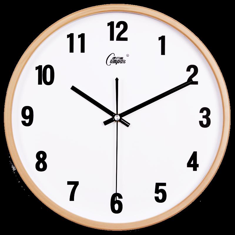 康巴丝客厅创意简约现代实木色静音挂钟卧室圆形石英钟表大时钟