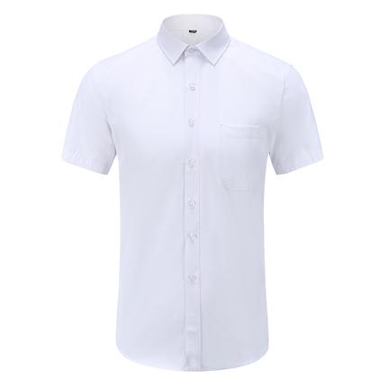 雅致鸟衬衫袖短白色商务正装新品夏