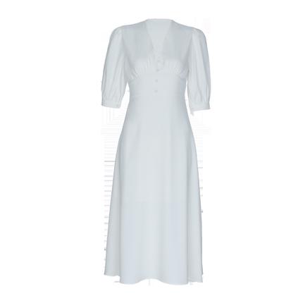 2019夏季新款气质复古白色仙女裙