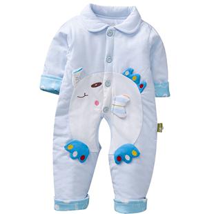 春秋冬新款嬰兒連體衣薄薄棉衣寶寶爬服新生兒哈衣外套0-1歲純棉