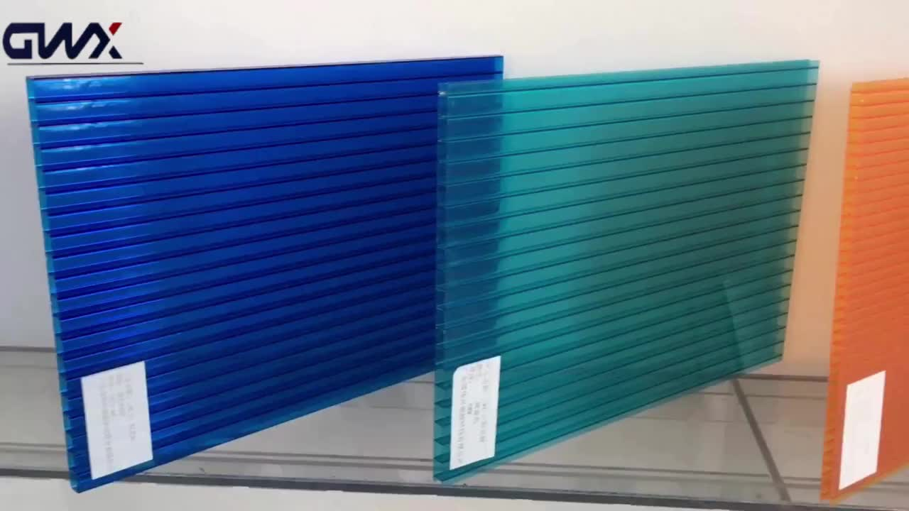 Gwx Skyblue Hard Plastic Double Wall Panel Polycarbonate