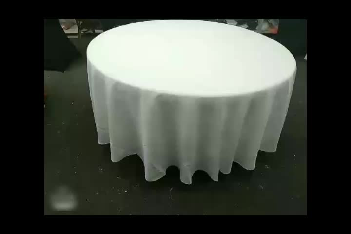 Fancy solid round polyester white hotel wedding table cloth tablecloth custom