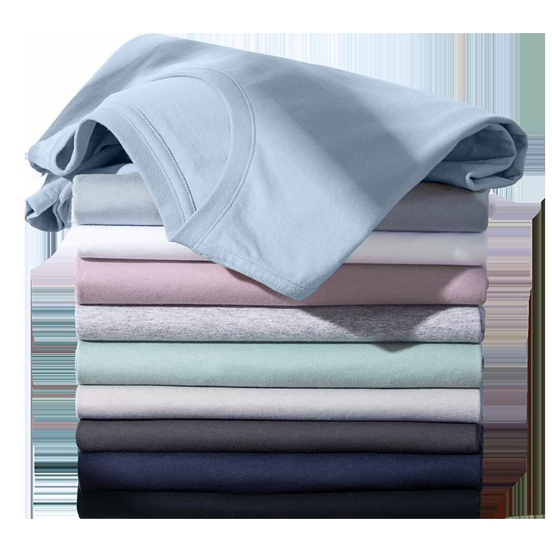 骆驼男装 2020夏季新款纯棉短袖t恤男士打底衫长袖圆领体恤白色潮