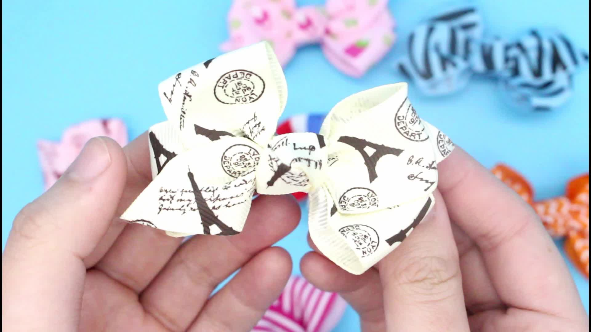 Fancy Korean Grosgrain Goody Baby Kids Hair Bow Barrettes With Twisted Knot