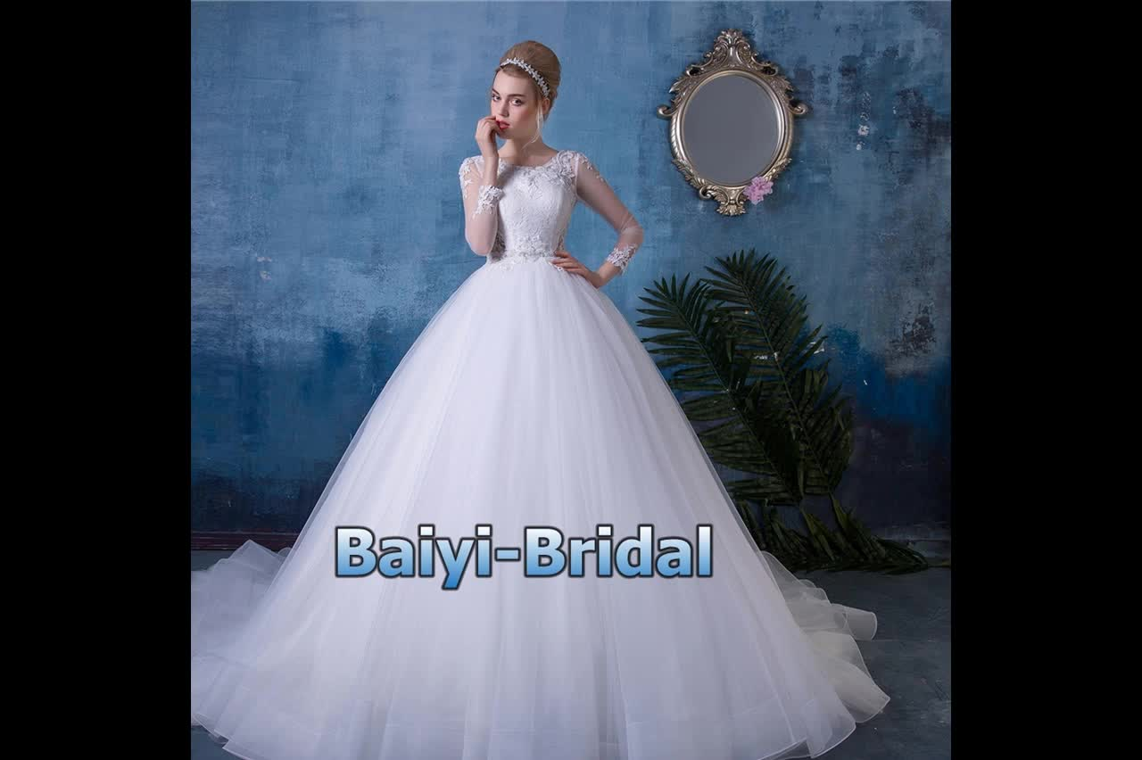 Plus Size Long Sleeves Ball Gown Wedding Dress Bridal Dress China ...