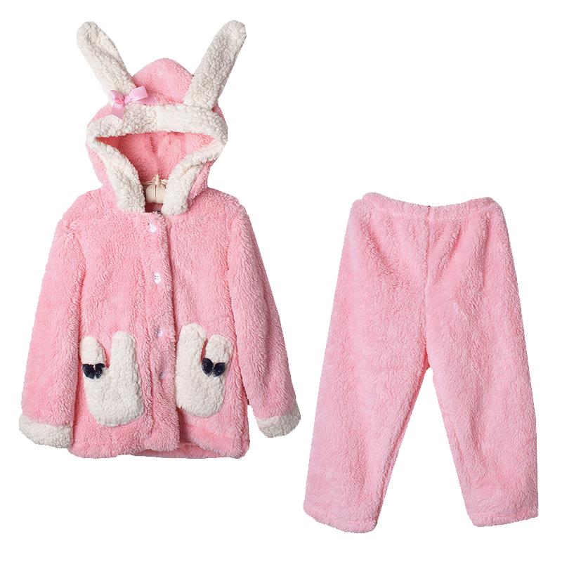 儿童珊瑚绒睡衣女童宝宝法兰绒秋冬季女孩春秋薄款公主家居服套装