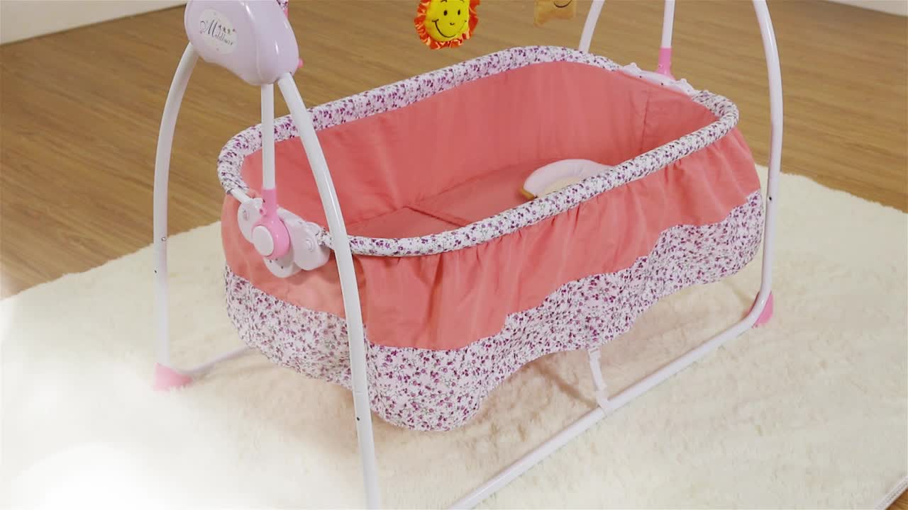 Baby Electric Infant Cradle Swing Crib Folding Rc Baby