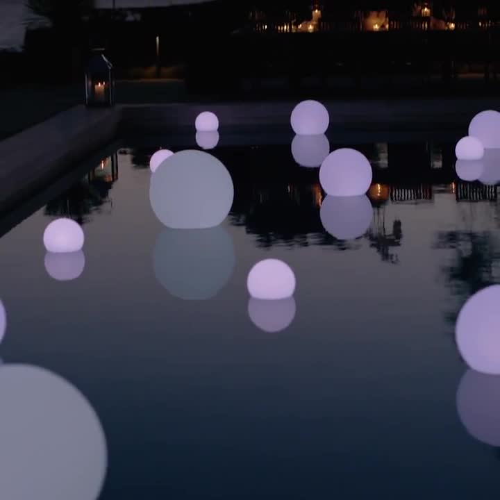 Top quality floating waterproof plastic wedding decoration balls battery led light ball