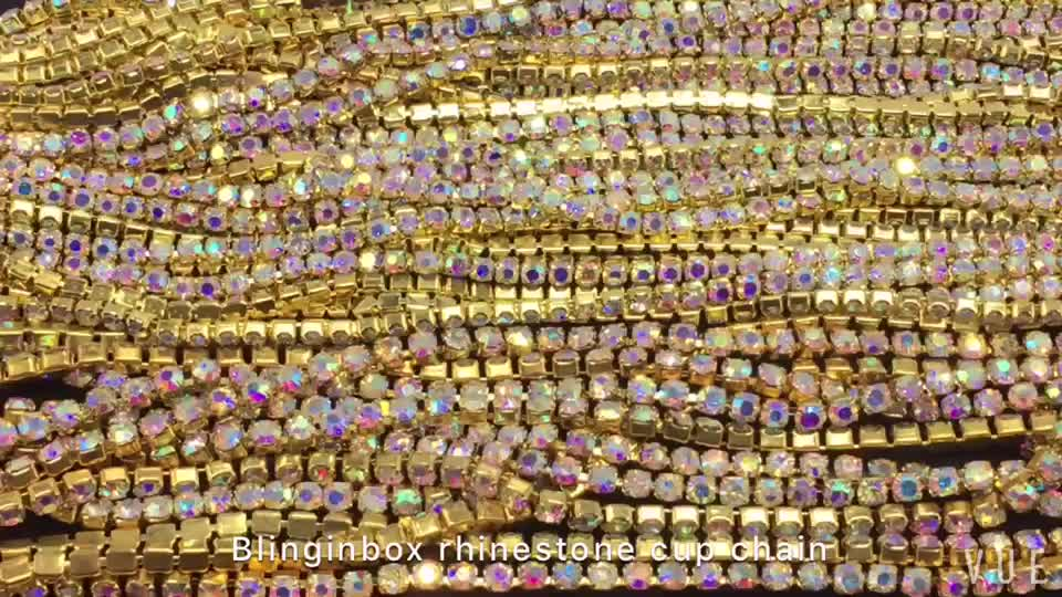Colorful rhinestone chains SS12 3mm silver base over 25 kinds of color crystal ab rhinestone cup chain for wedding dress