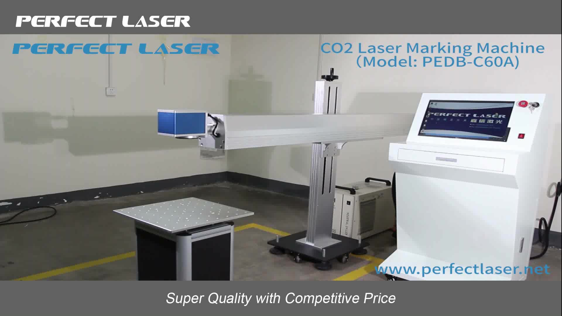 10w 30w 60w plastic/ cloth/ jeans /cable co2 laser marking machine for pet with CE