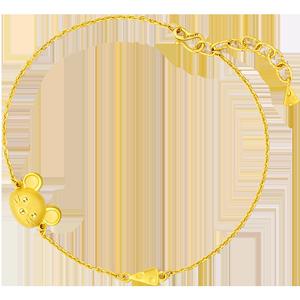 六福珠宝生肖鼠细款足金本命年手链