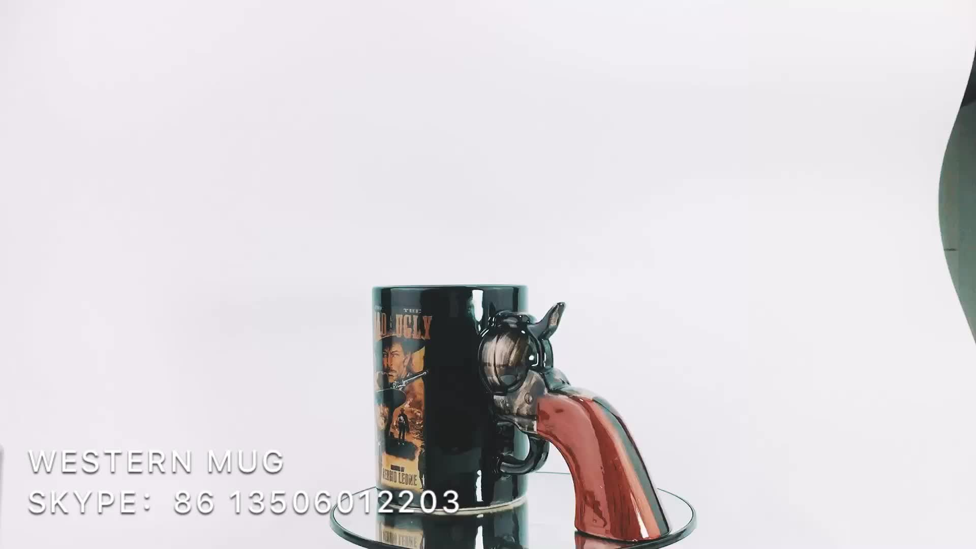 Atacado ocidental design personalizado caneca de café com alça de arma