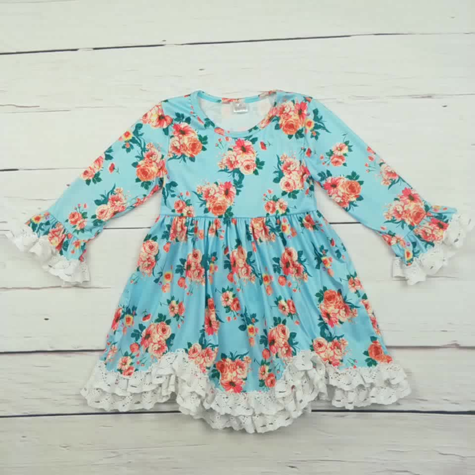 Conice nini ruffle solid applique girl party wear western girl dress