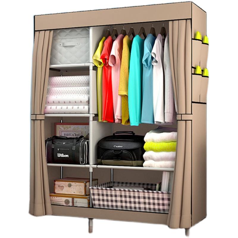 简易衣柜宿舍衣橱简约现代经济型组装布衣柜收纳柜单人钢管布衣柜