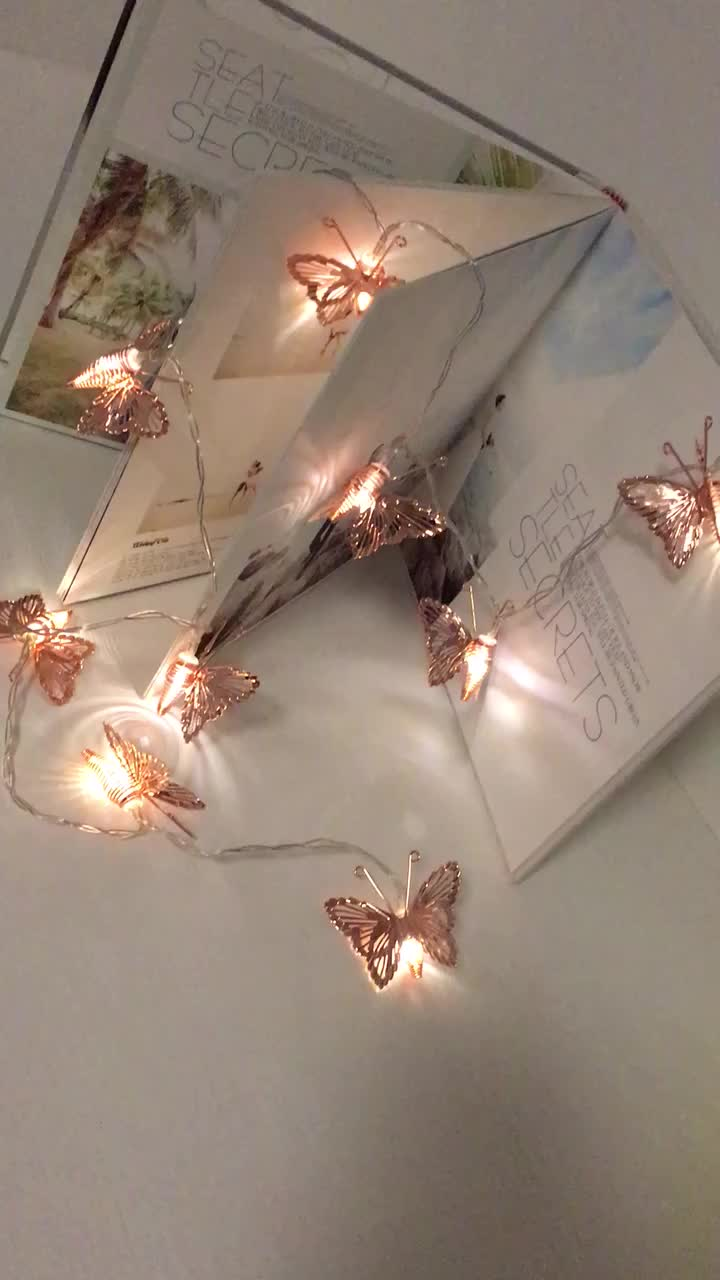 China Supply Home Bedroom Wedding Party Decoration Rose Gold Metal Butterfly Design LED String Lights