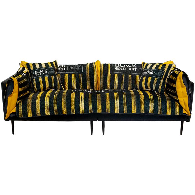 北欧现代时尚黑金沙发垫客厅防滑套用后评测