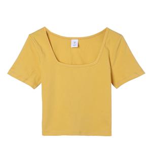 黑色方领短袖短款女夏高腰修身t恤