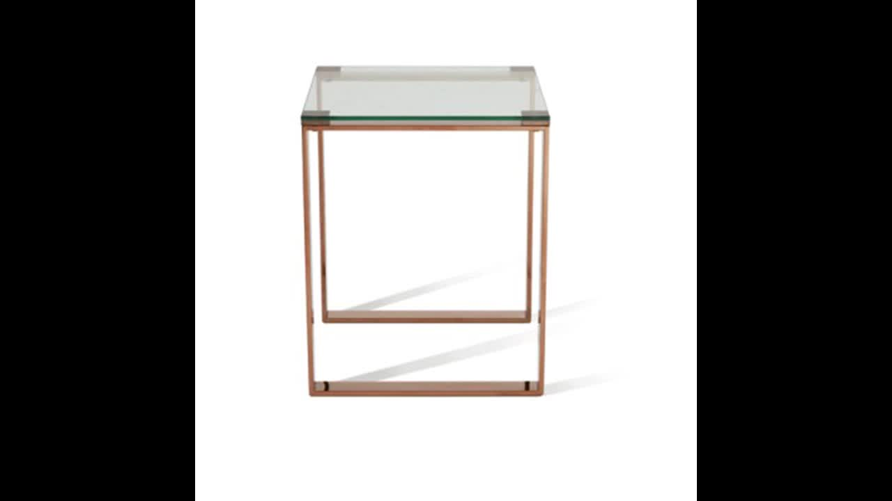 tempered glass coffee table set in gold color