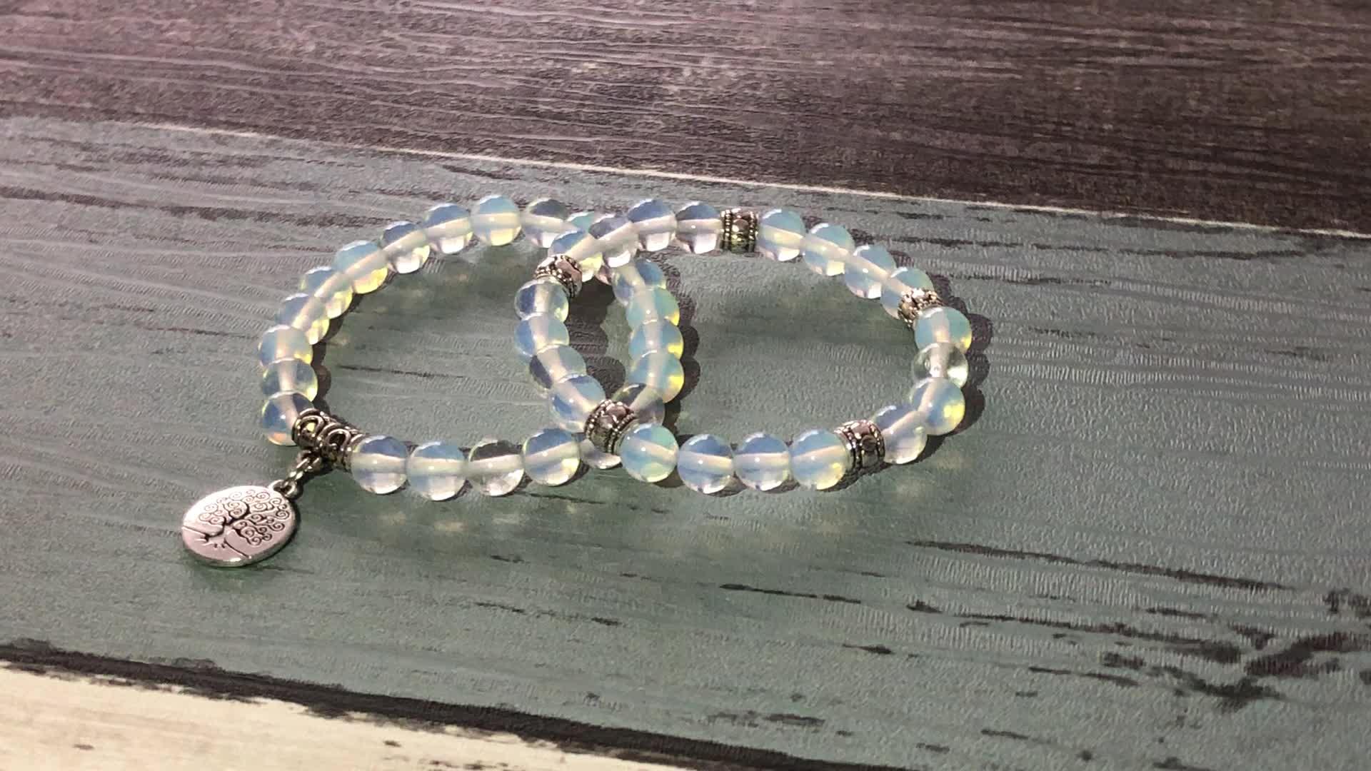 SN1722 Long Distance Relationship Bracelets 6mm Mala Beads Beaded Gray Map Jasper Bracelet For Couples Gift