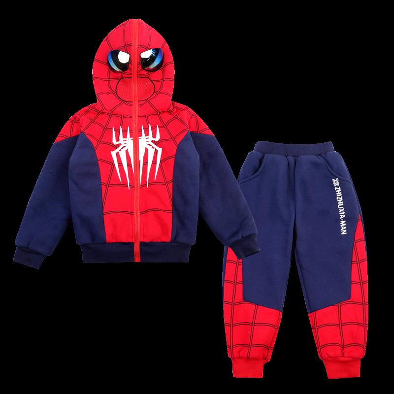 蜘蛛侠儿童套装奥特曼男童加绒棉服